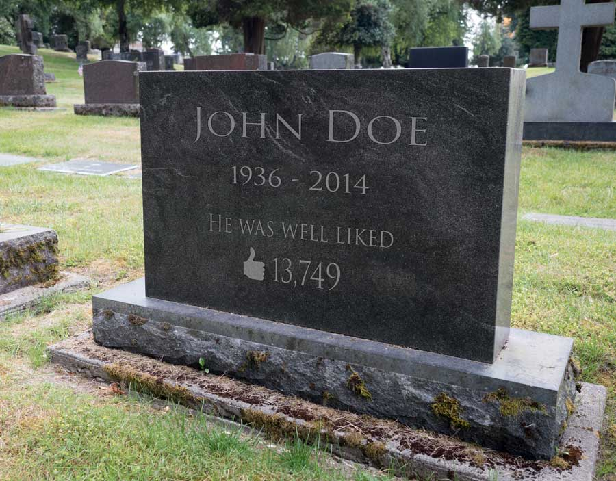 A tomb stone for John Doe that reads he was well liked with a thumbs up and a number indicating his facebook likes.