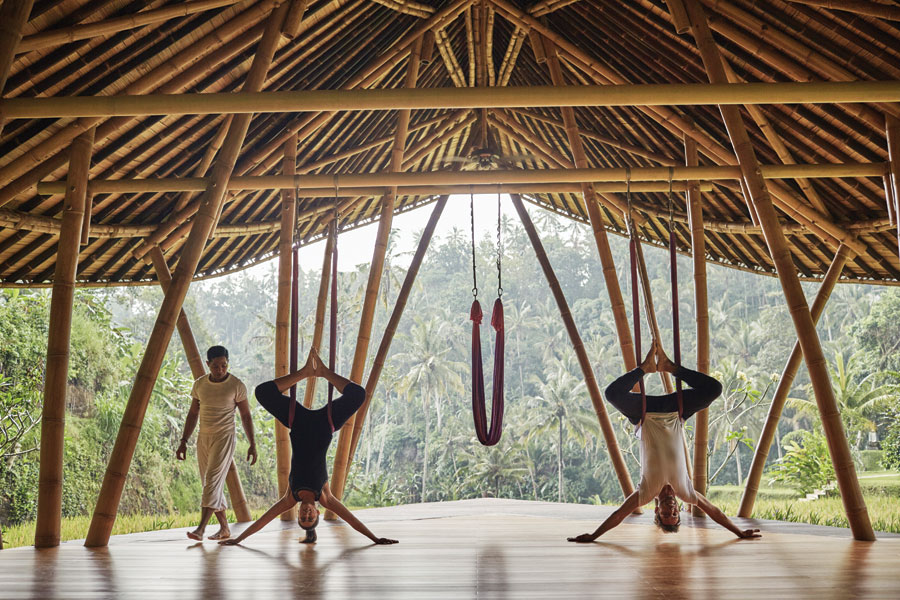 People hanging upside down in a bamboo hut doing yoga.