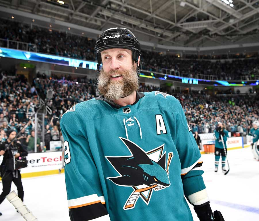 Joe Thornton #19 of the San Jose Sharks celebrates the win against the Colorado Avalanche in Game Seven of the Western Conference Second Round during the 2019 NHL Stanley Cup Playoffs.