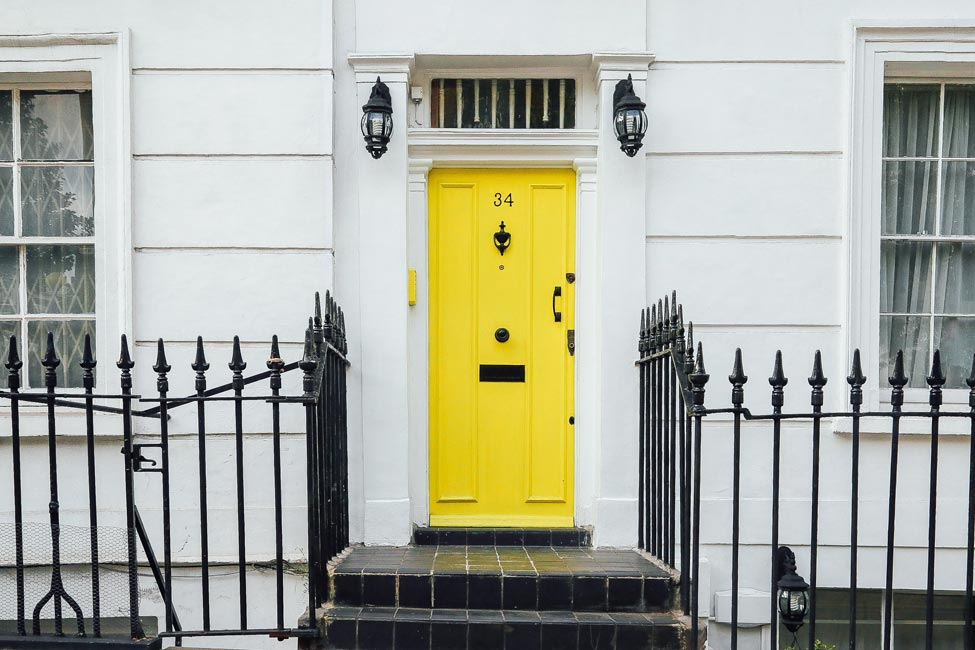 House with a yellow front door