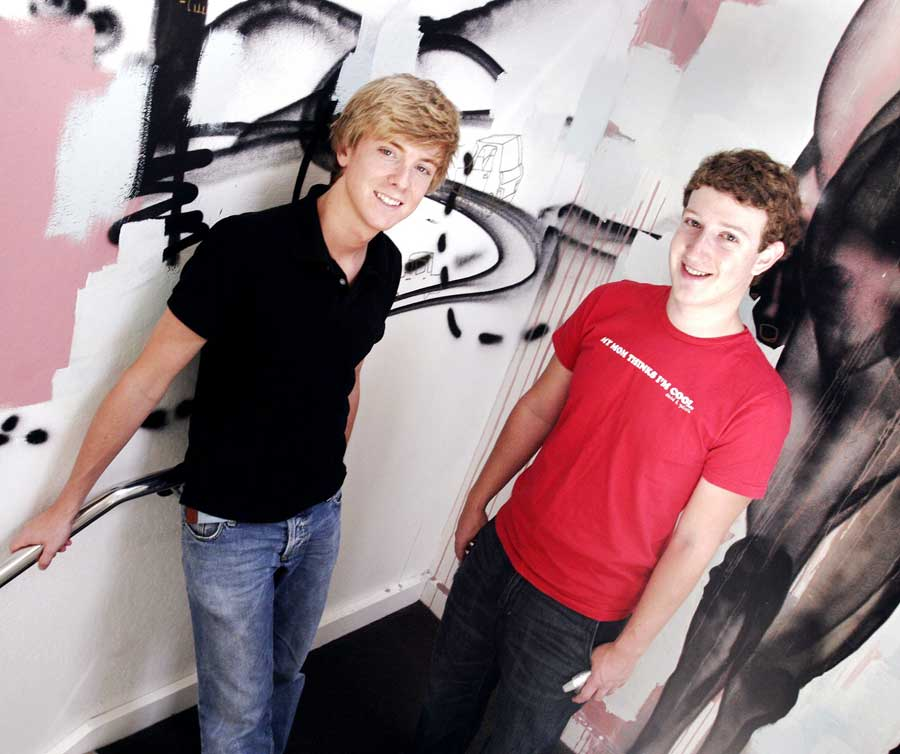 Chris Hughes (left) and Mark Zuckerberg, of Facebook, in their Palo Alto location.