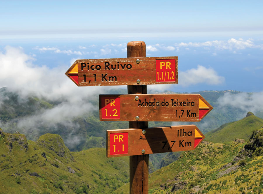 Sign posts mark the Levadas hiking trails in the hills of Madeira.