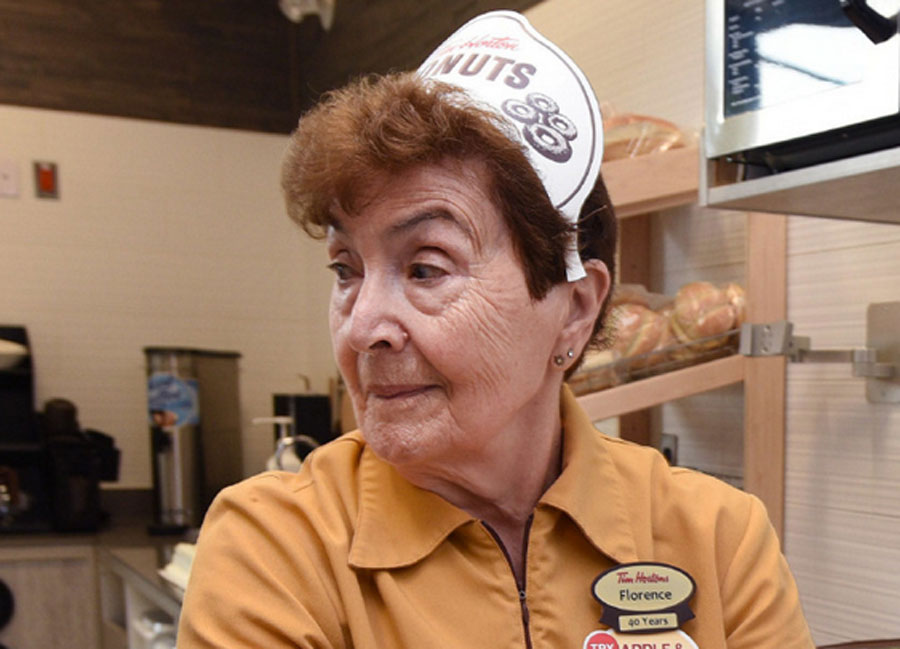 Florence Kasoian, 90-year-old Tim Hortons employee that has worked at the original location for 44 years.