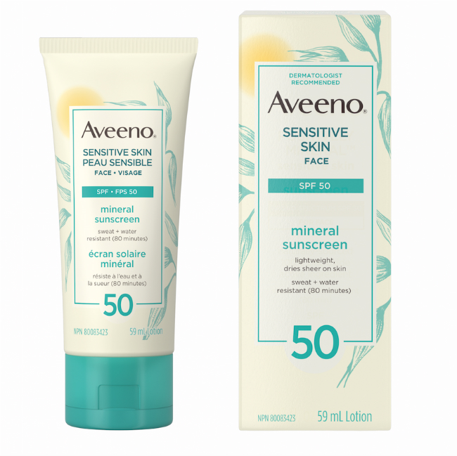 A picture of the Aveeno Sensitive Skin Face SPF 50.