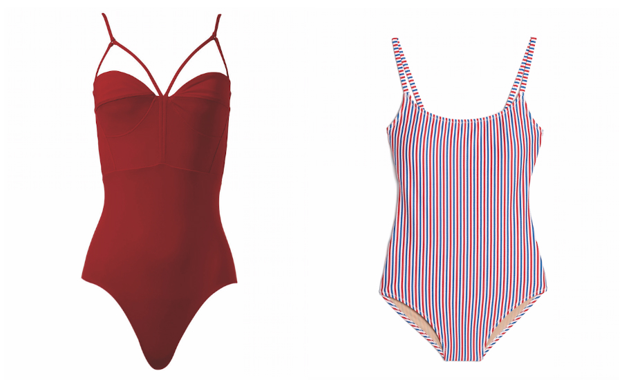 A picture of the Eco-Friendly. Angelys Balek recycled fabric bustier swimsuit from holtrenfrew.com and a picture of the Elongating Lines swimsuit from oldnavy.ca.