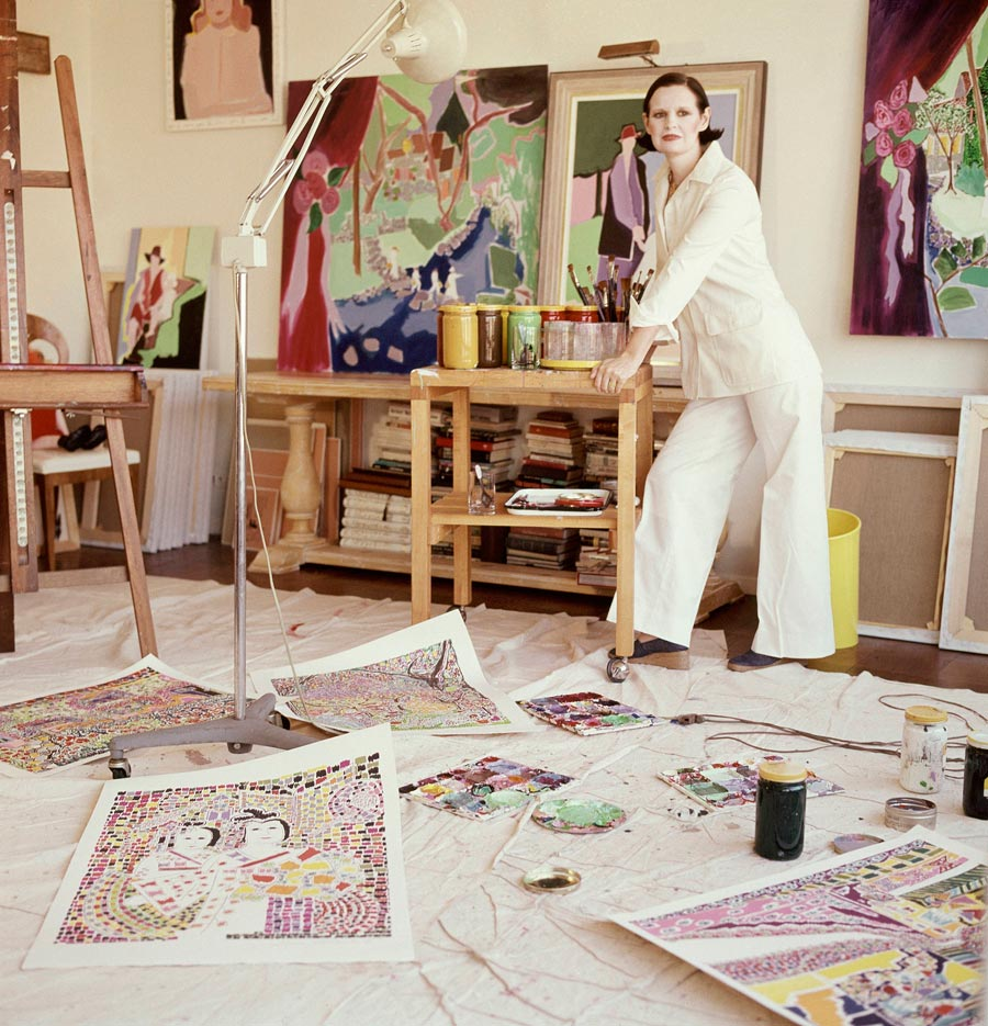 Vogue 1975 Gloria Vanderbilt in her studio with pantings on the walls and floor. (Photo by Horst P. Horst/Conde Nast via Getty Images)