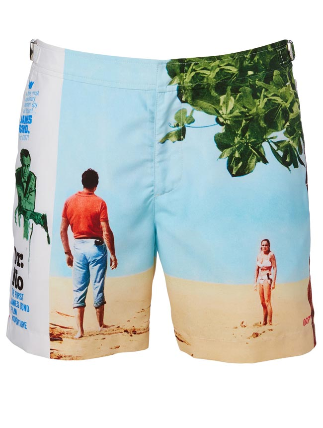 James Bond inspired swim trunks. Perfect for Father's Day!