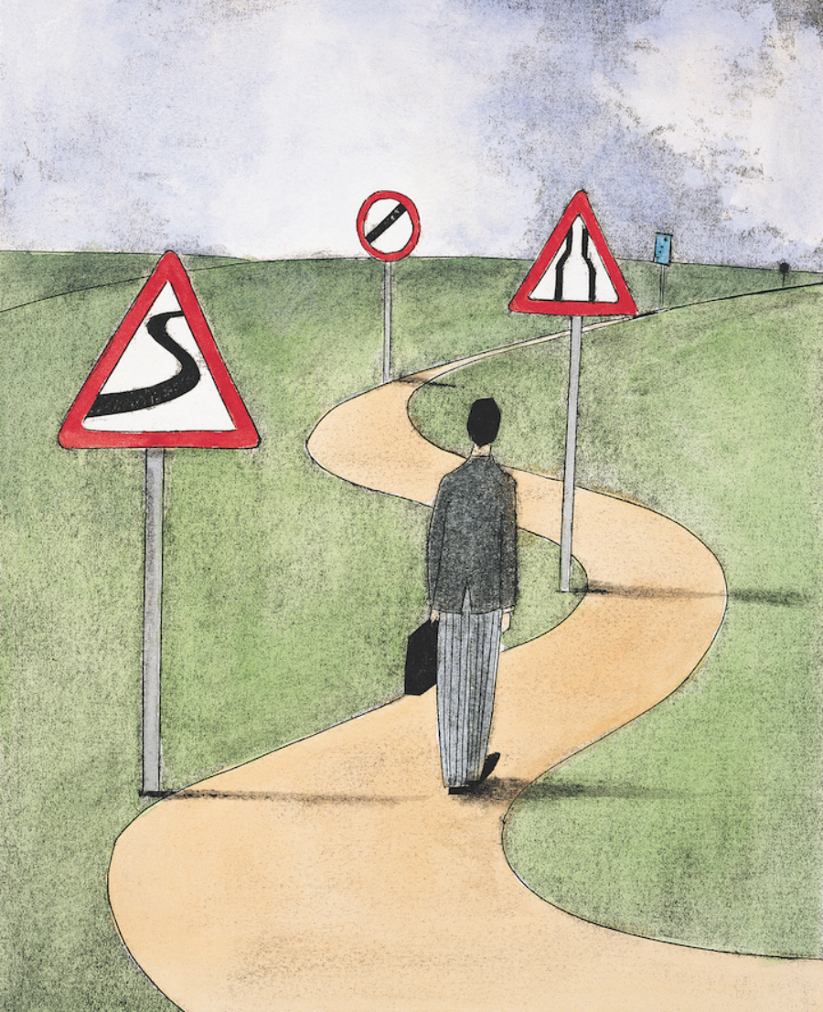 An illustration of a business man choosing which road to walk down.