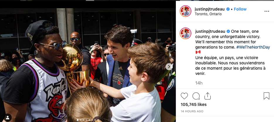 Justin Trudeau greets Lowry at Nathan Philips Square after the championship parade.