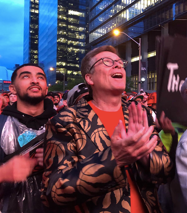 Toronto Mayor John Tory cheering on the Raptors