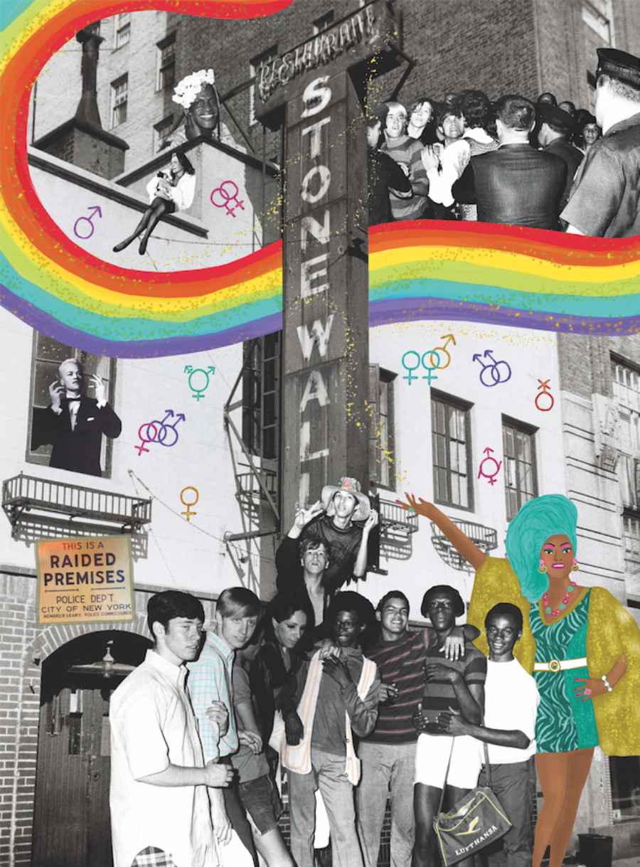 A collage of photos and illustrations of the Stonewall Protests.