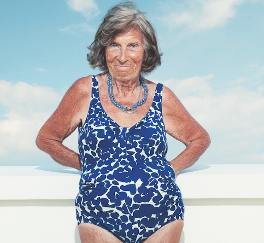 A picture of a woman in a blue bathing suit.