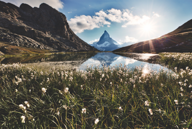 A photo of the Matterhorn reflected in the Rifflesee, a popular place to hike.