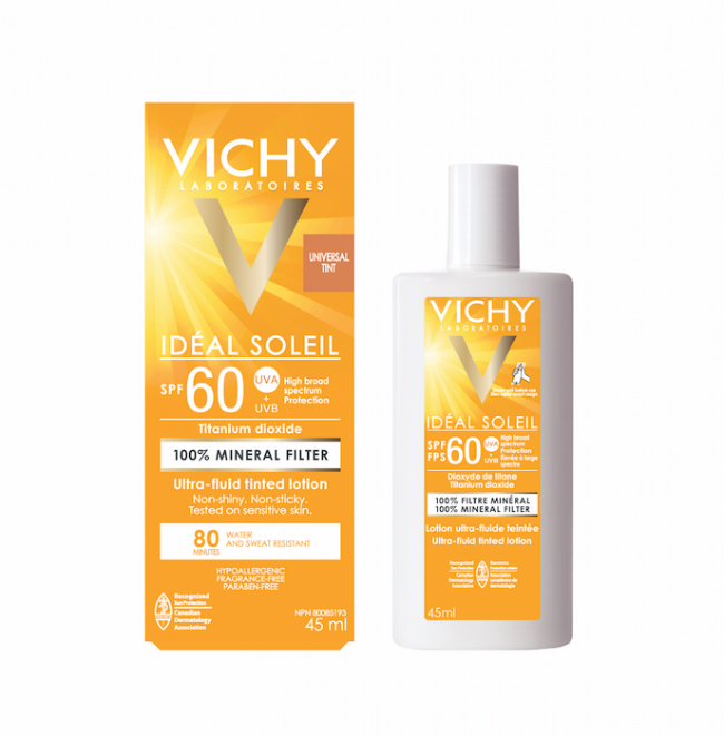 A picture of the Vichy Idéal Soleil Ultra Fluid Tinted Lotion SPF 60.