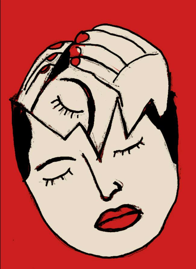 An illustration of a woman holder her broken head inside her own broken head.