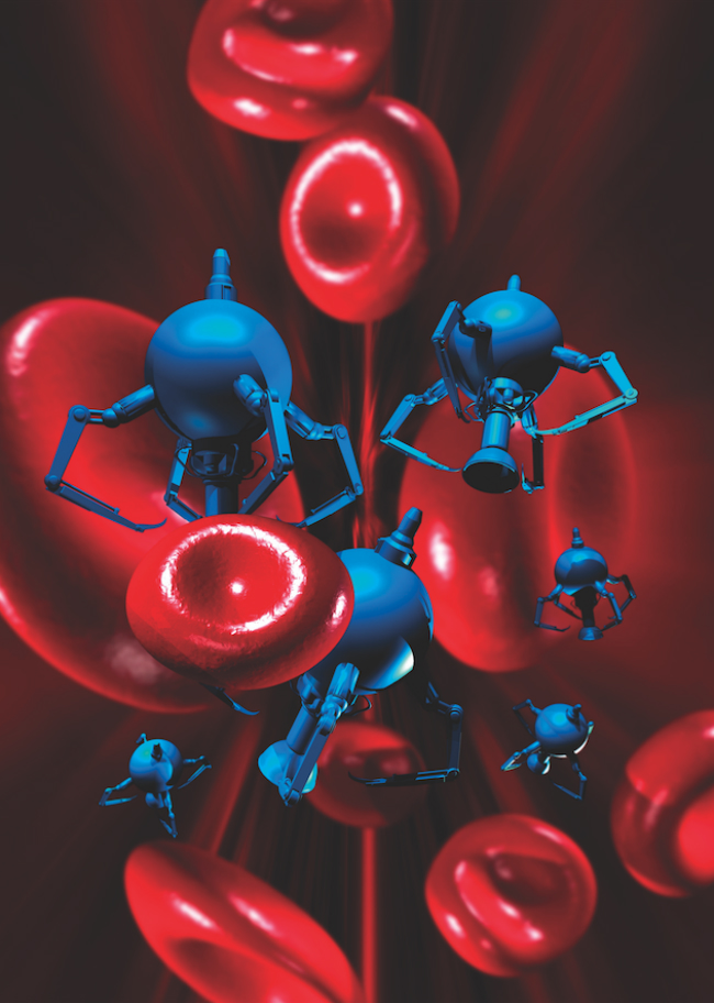 An image of what medical nanorobot would look like delivering medicine to specific areas inside the body.
