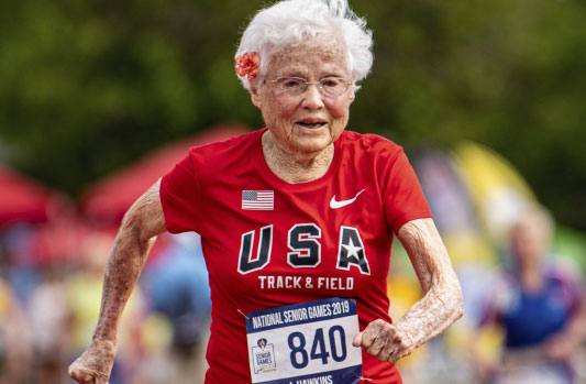 Julia Hawkins, 103, in mid-stride competing at the National Senior Games last week.