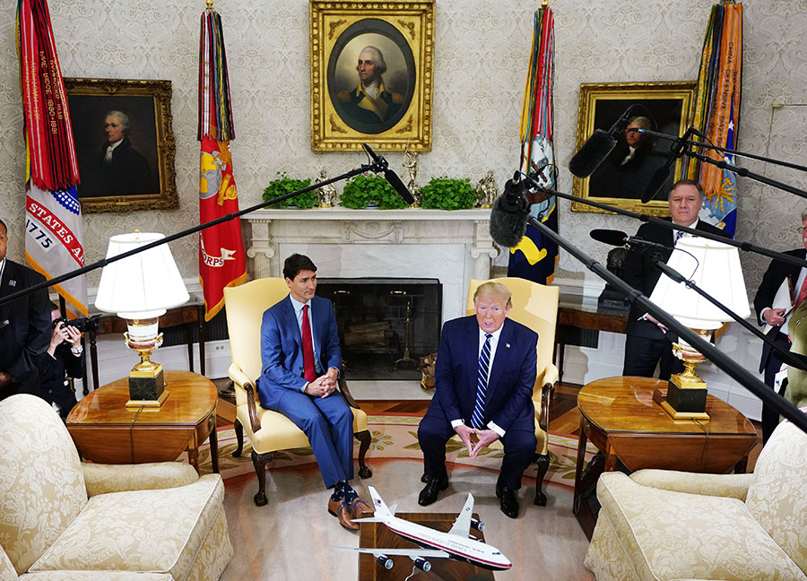 Trump and Trudeau meet at the White House.