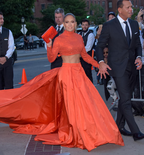 Jennifer Lopez and Alex Rodriguez are seen on June 3, 2019 at the 2019 CFDA Fashion Awards in New York City. (Photo by Patricia Schlein/Star Max/GC Images)