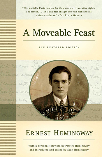 The cover of the memoir A Moveable Feast (1964) by Ernest Hemingway.