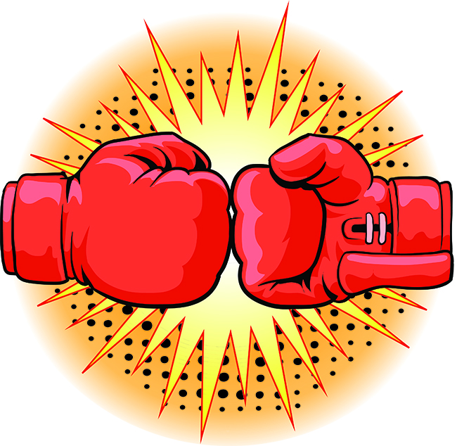 An Illustration of two red boxing gloves hitting each other.