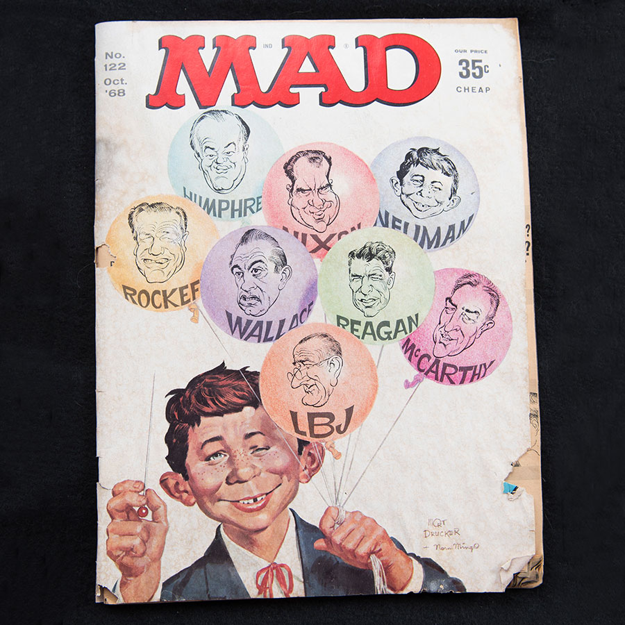 A mad magazine cover from 1968 showing the MAD character holding balloons with presidential candidates on front of each.