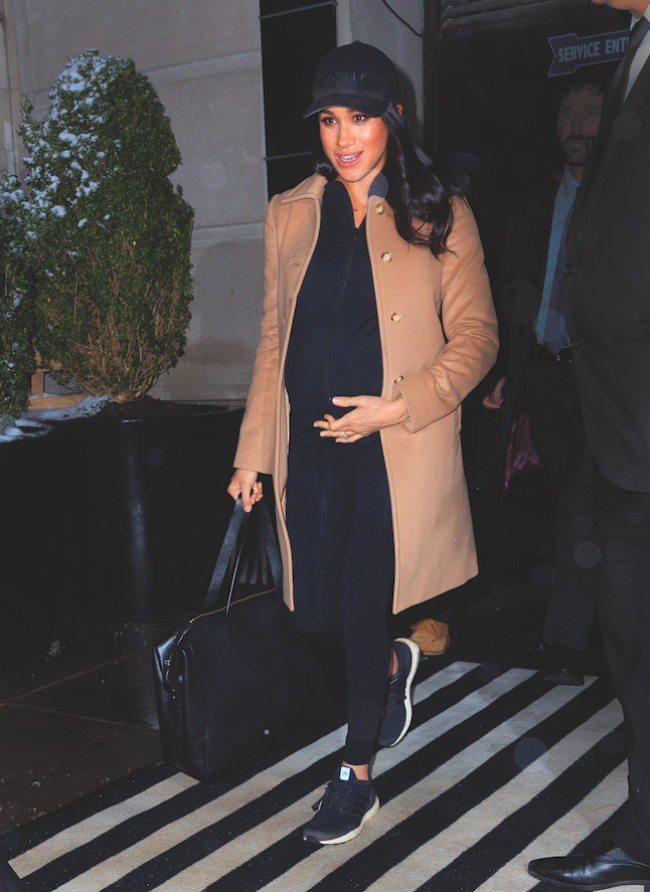 A picture of Meghan, the Dutchess of Sussex, leaving her tea-inspired baby shower.