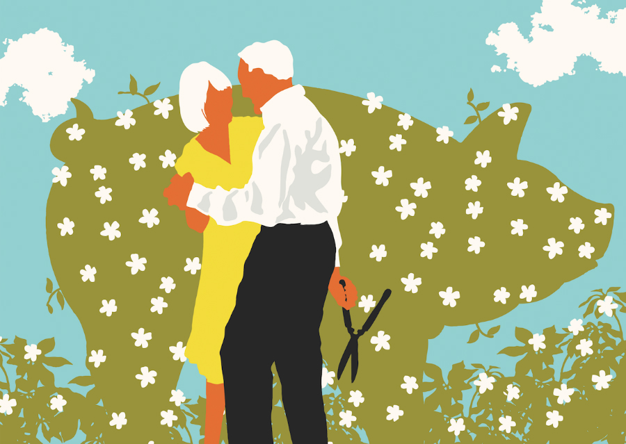 An illustration of a couple embracing in a garden.