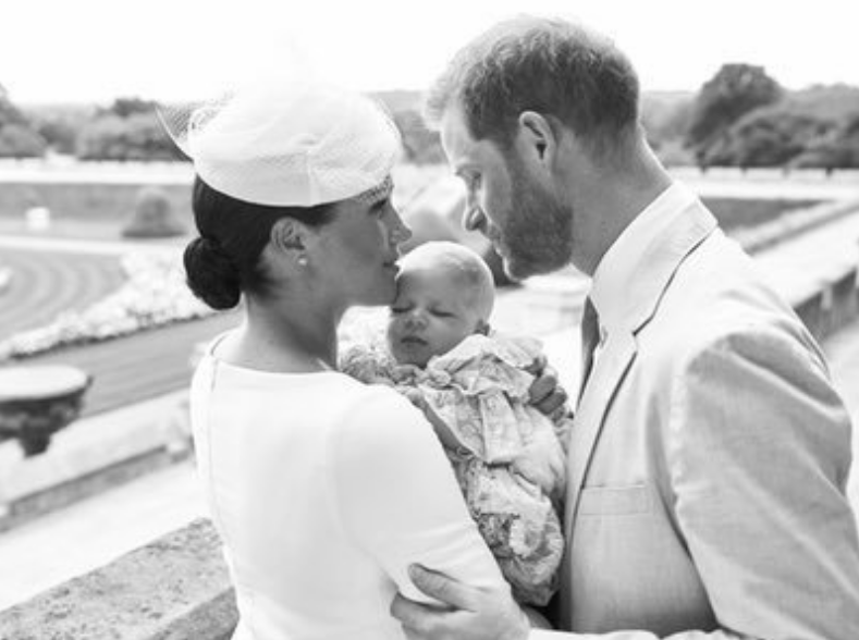 Prince Harry and Meghan Markle with baby Archie at his christening
