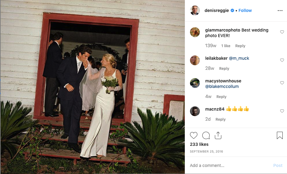 JFK Jr. kissing the hand of Carolyn Bessette-Kennedy as they leave the church following their wedding.