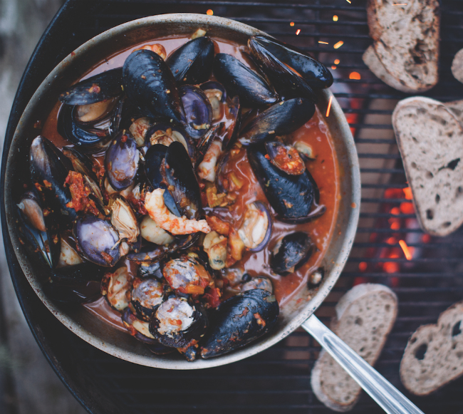 A photo of Sobo's Left Coast Seafood Stew.