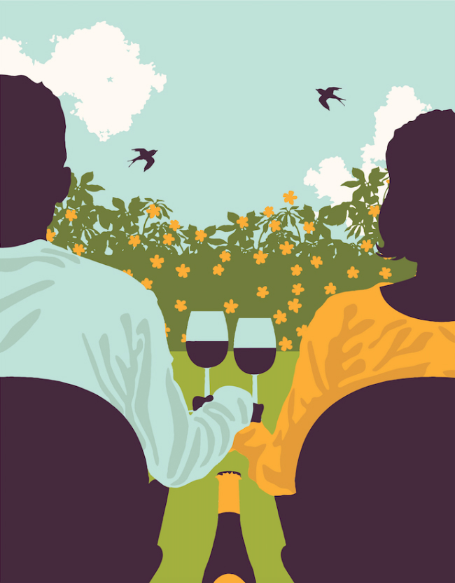 An illustration of a couple sitting outside drinking wine.