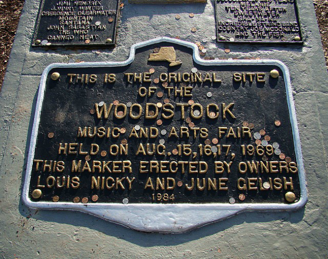 A plaque marking the site of the 1969 Woodstock Music Festival.