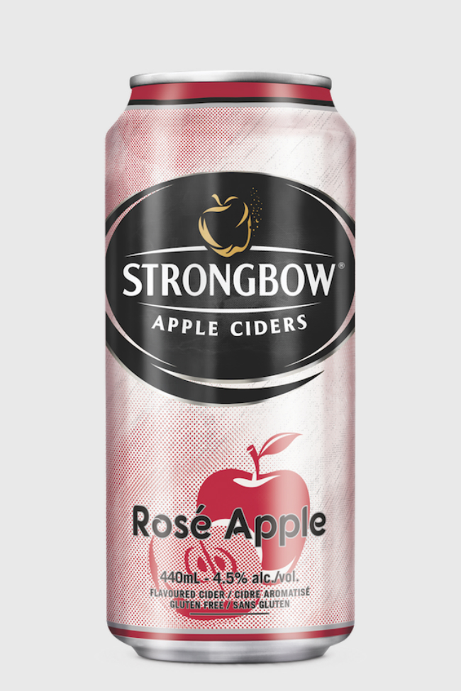 A can of Strongbow Rosé Apple Cider.