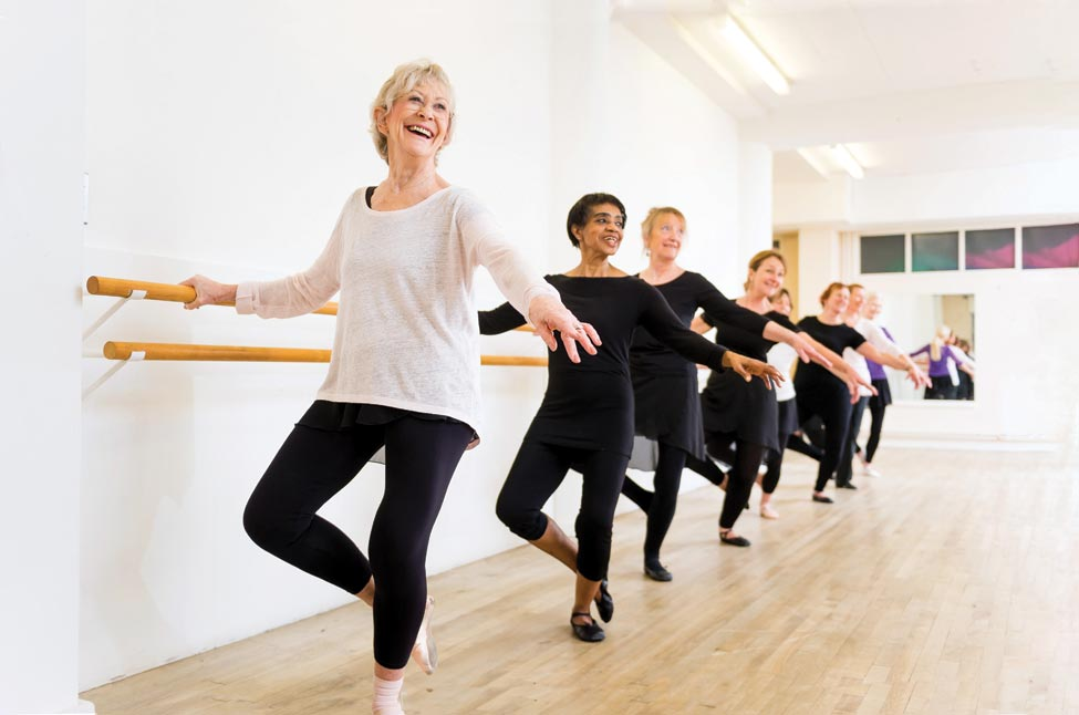 Older women learning ballet