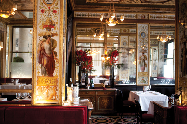 A photo inside One of the author's favourites dining spots: Le Grand Véfour.
