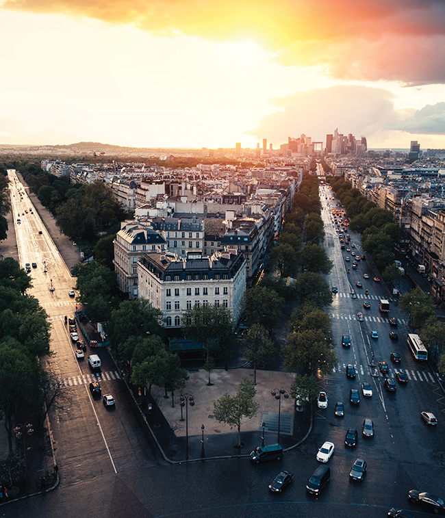 A sunset view from the top of the Arc de Triomphe.
