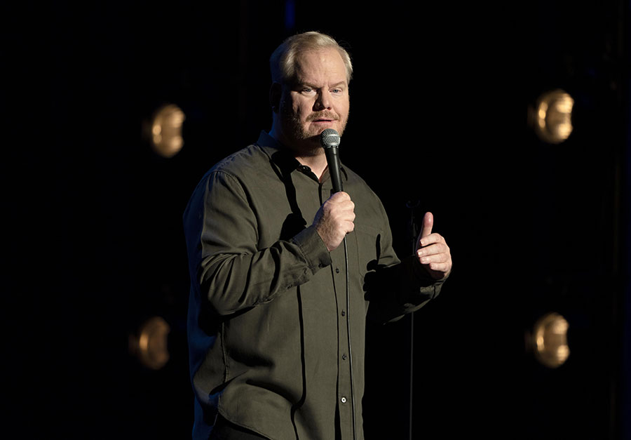 Jim Gaffigan on stage during his special Quality Time.