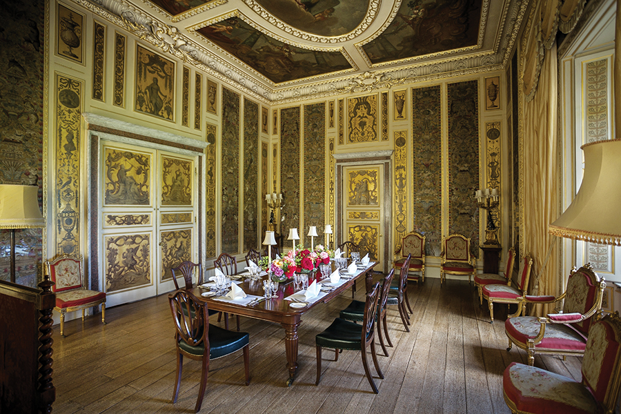 A photo of the dining room inside Highclere Castle.