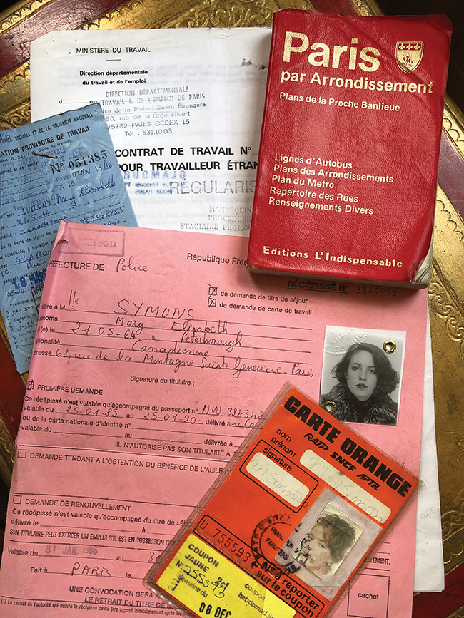 A photo of Mary Symons' working papers, Metro card and Plan de Paris.