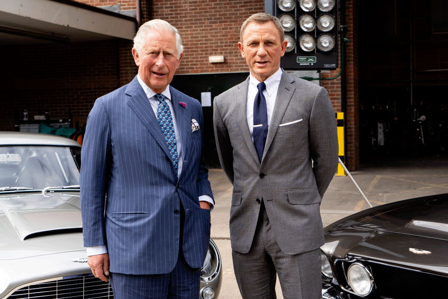 Prince Charles and Daniel Craig pose on the set of the new bond film.