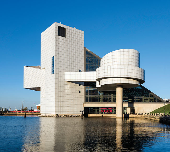 A photo of the Rock and Roll Hall of Fame in Cleveland, Ohio.