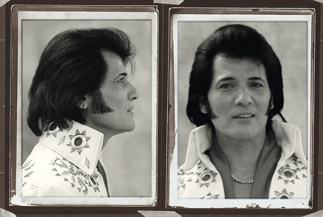 A photo of Australian Dean Vegas impersonating Elvis' mug-shot.