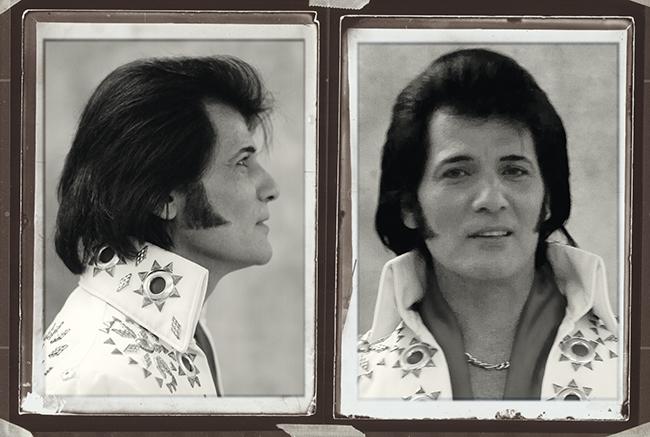 A photo of Australian Dean Vegas impersonating Elvis' mug-shot.