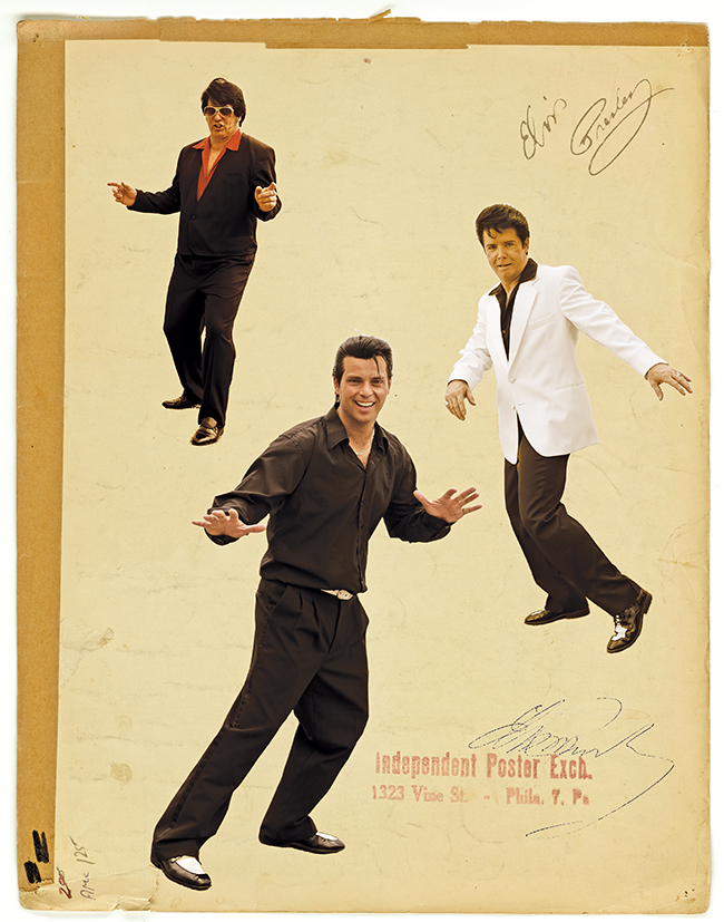 A poster of a trio of Elvis Impersonators.