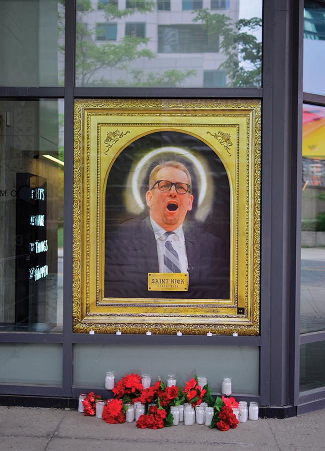 A photo of the shrine to Nick Nurse, head coach of the Toronto Raptors.