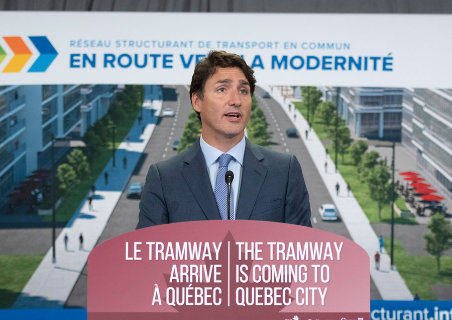 Prime Minister Justin Trudeau announces a major investment for a tramway, Monday, August 19, 2019 in Quebec City.