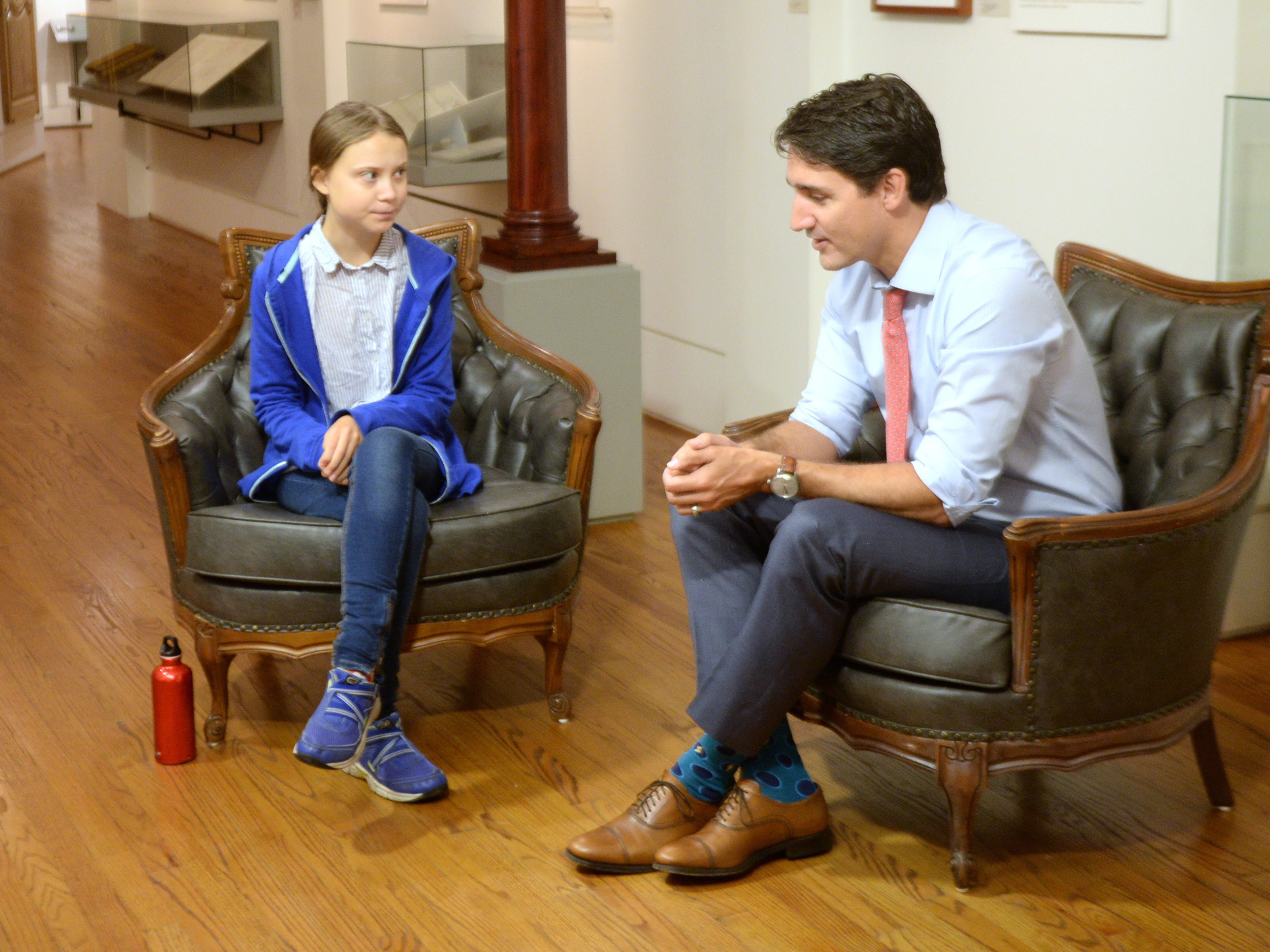 Canadian Prime Minister and Liberal leader Justin Trudeau speaks Swedish environmental activist Greta Thunberg in Montreal on Friday, September 27, 2019. THE CANADIAN PRESS/Ryan Remiorz