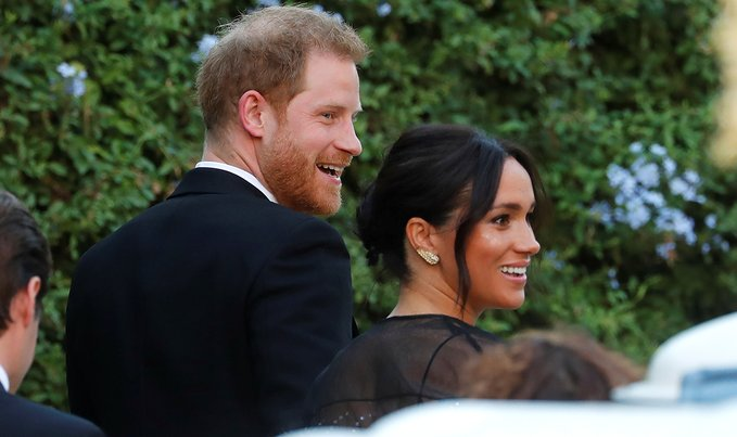 Prince Harry and Meghan Markle arrive at Misha Nonoo's wedding in Rome.