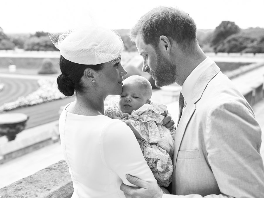 Prince Harry and Meghan Markle at the christening of their son, Archie
